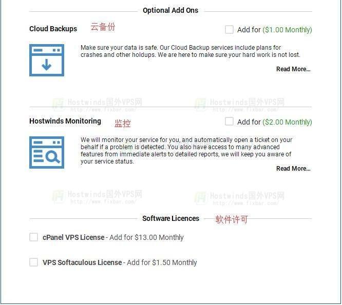 Hostwinds VPS购买附加选项